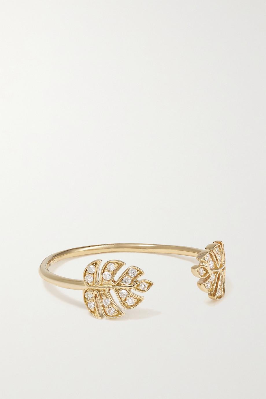Sydney Evan Tiny Monstera Leaf 14-karat gold diamond ring