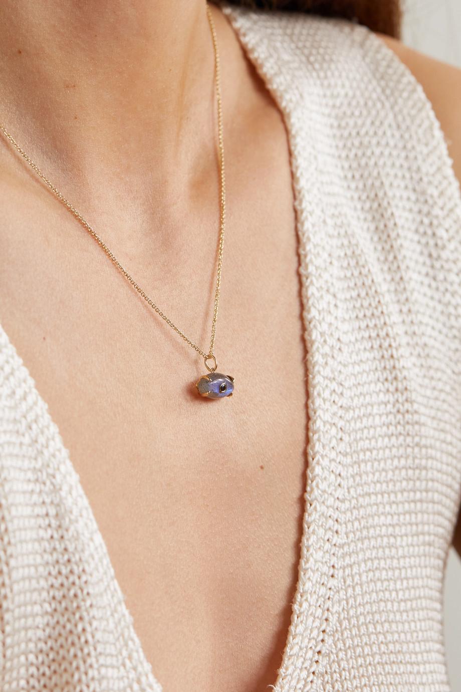 Sydney Evan 14-karat gold, labradorite and sapphire necklace