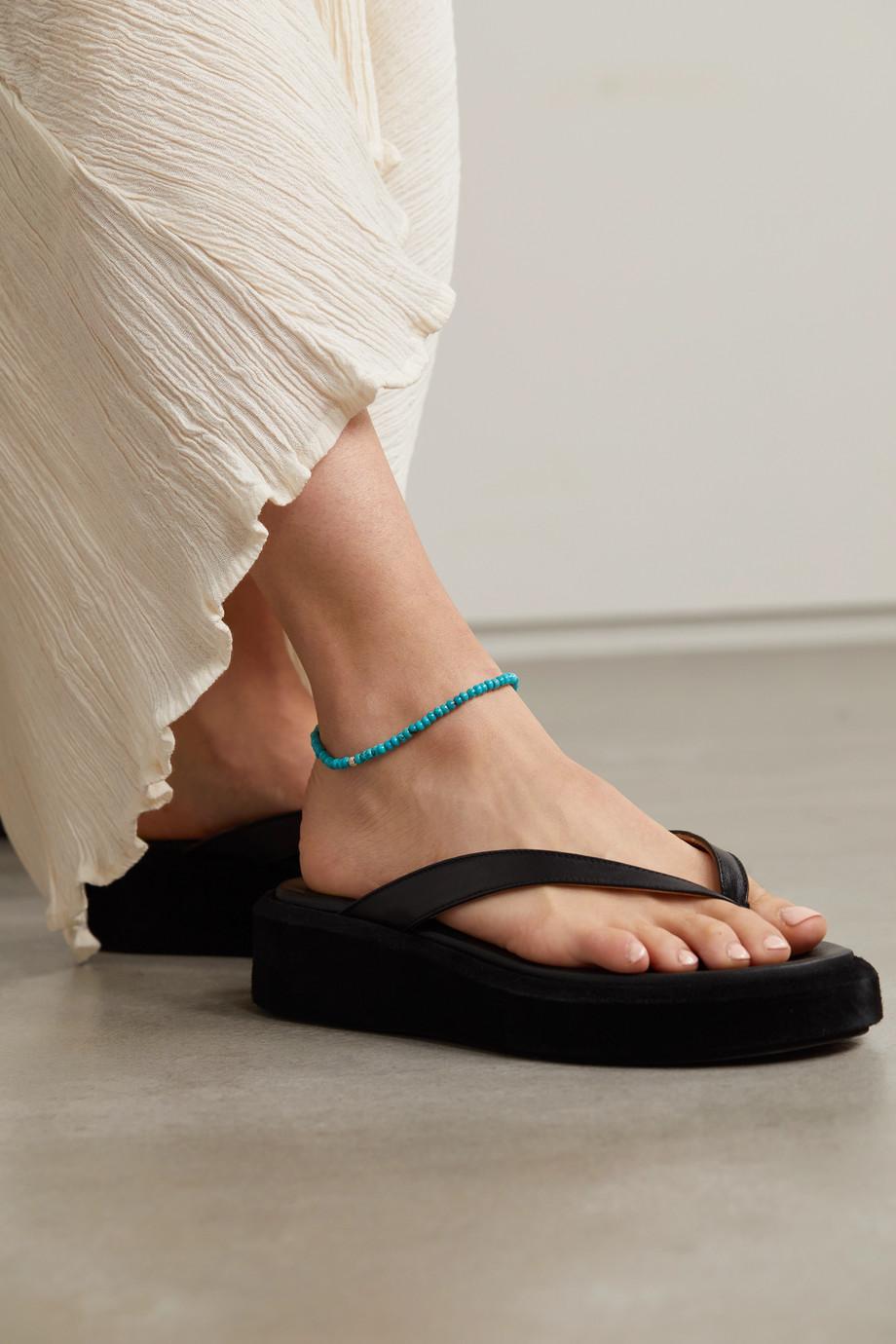 Sydney Evan 14-karat gold, turquoise and diamond anklet