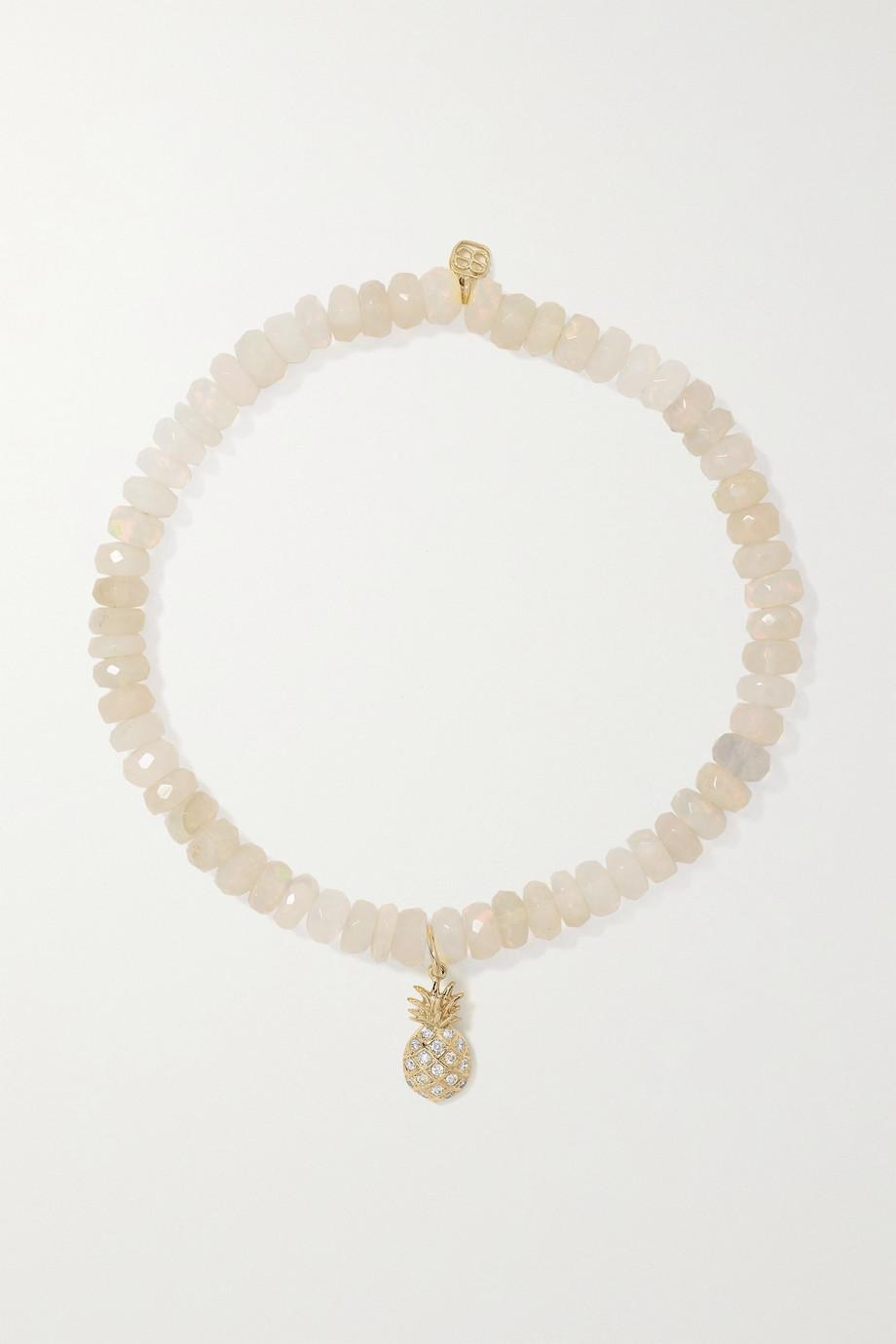Sydney Evan Bracelet en or 14 carats (585/1000), opales Welo et diamants Pineapple