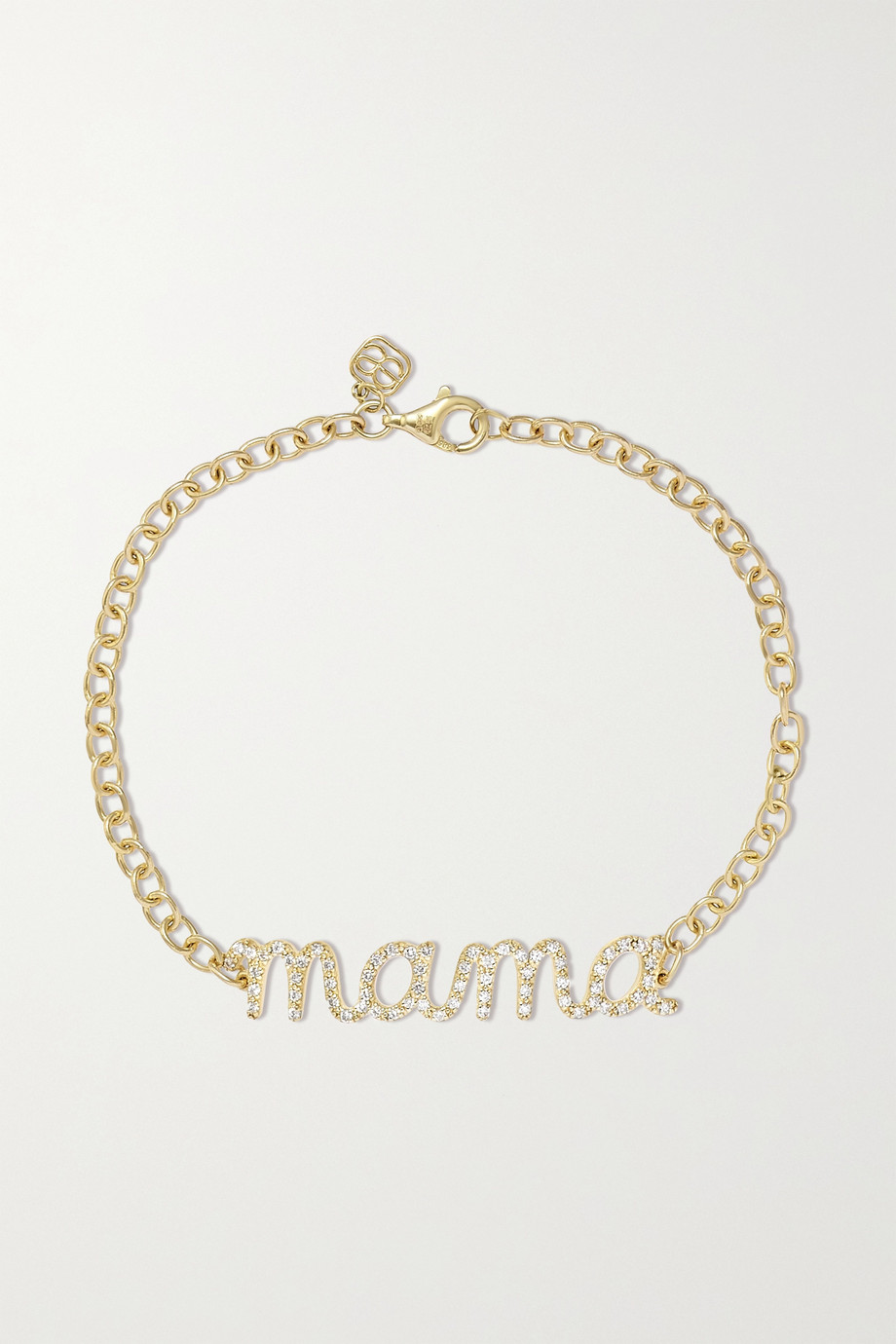 Sydney Evan Large Mama Script Armband aus 18 Karat Gold mit Diamanten