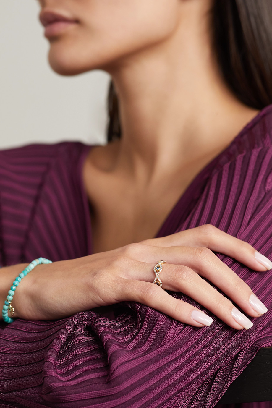 Sydney Evan Evil Eye 14-karat gold, diamond and sapphire ring