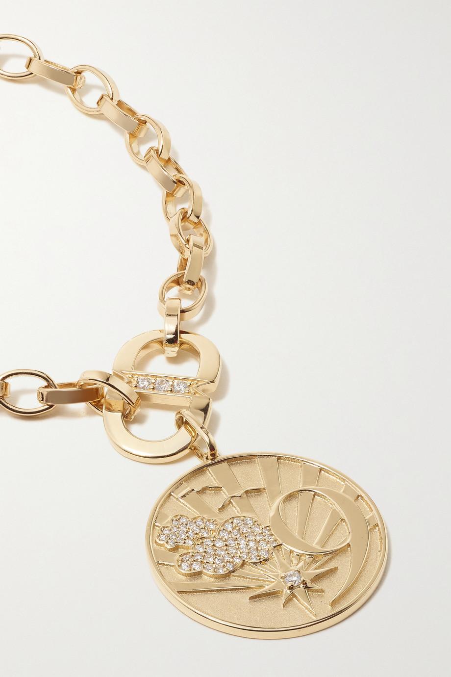 Sydney Evan Cloud 9 Coin Kette aus 14 Karat Gold mit Diamanten