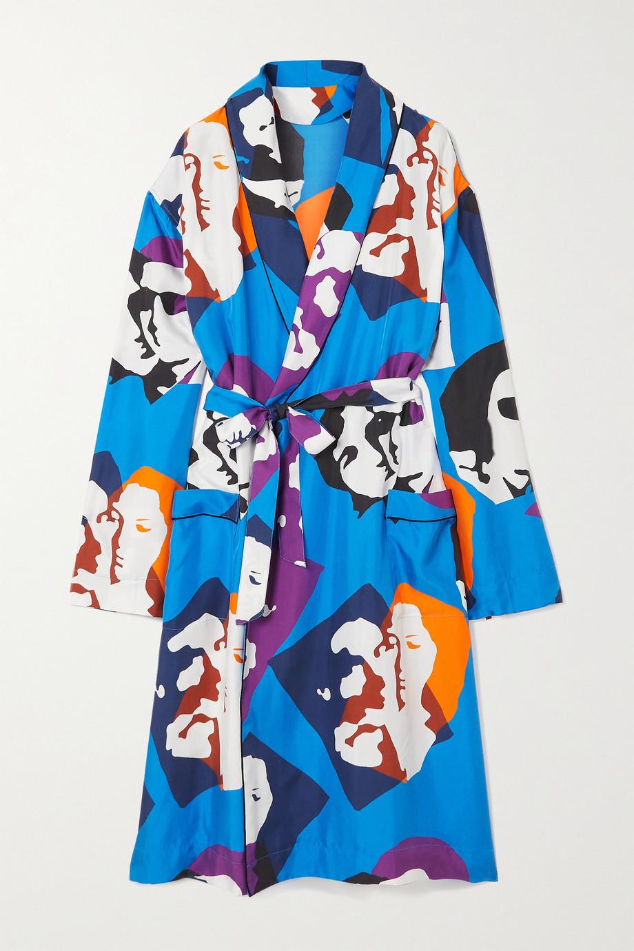 AZ Factory Pijama The Kiss belted printed silk-twill robe
