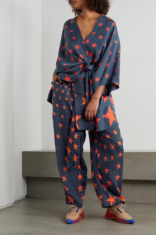 AZ Factory Kimono en serge de soie imprimée à ceinture You're A Star