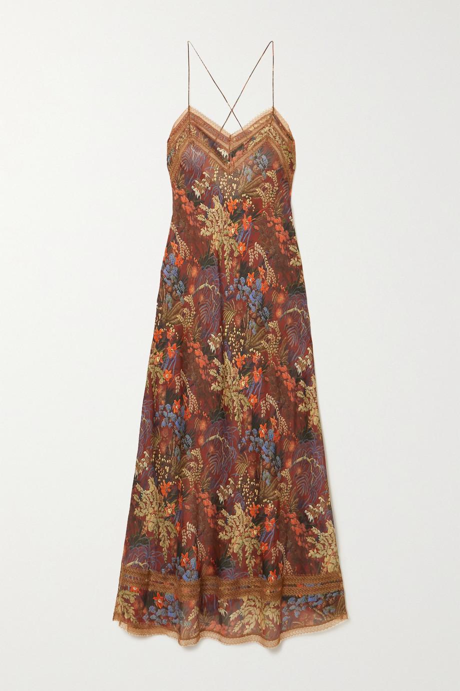 Carine Gilson Nachthemd aus Seidensatin mit Blumenprint und Besätzen aus Chantilly-Spitze