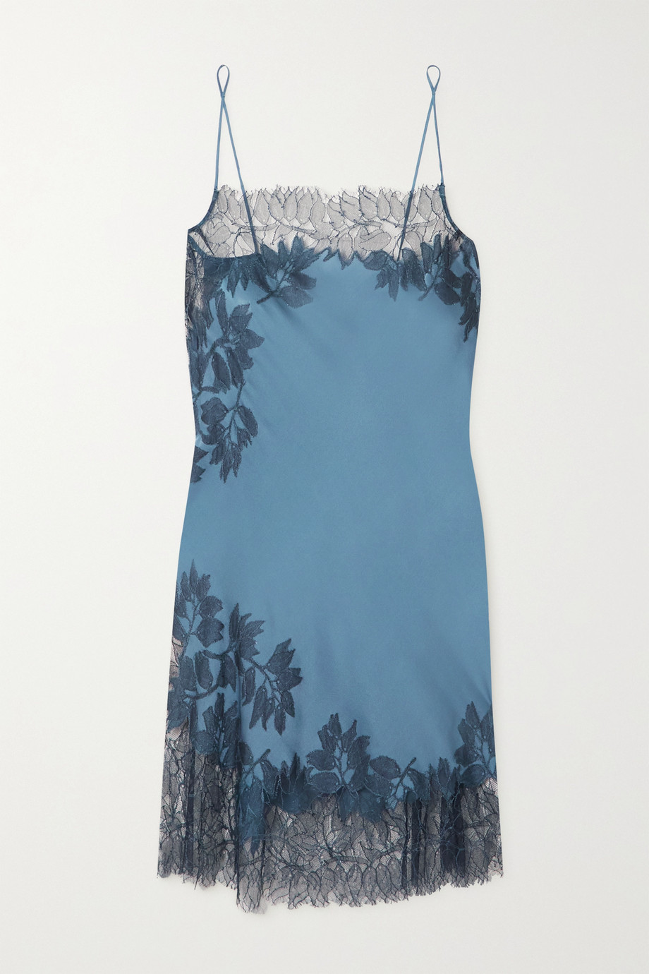 Carine Gilson Chantilly lace-trimmed silk-charmeuse chemise