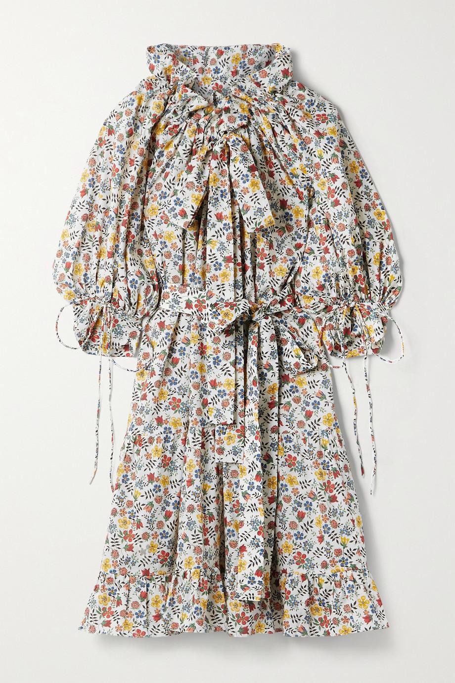 Horror Vacui Hilde tie-detailed floral-print cotton-poplin dress
