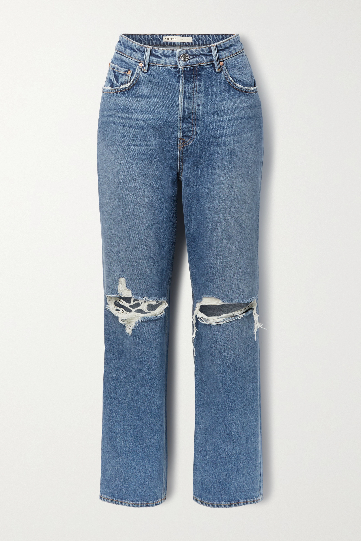 GRLFRND - Amanda distressed mid-rise straight-leg jeans