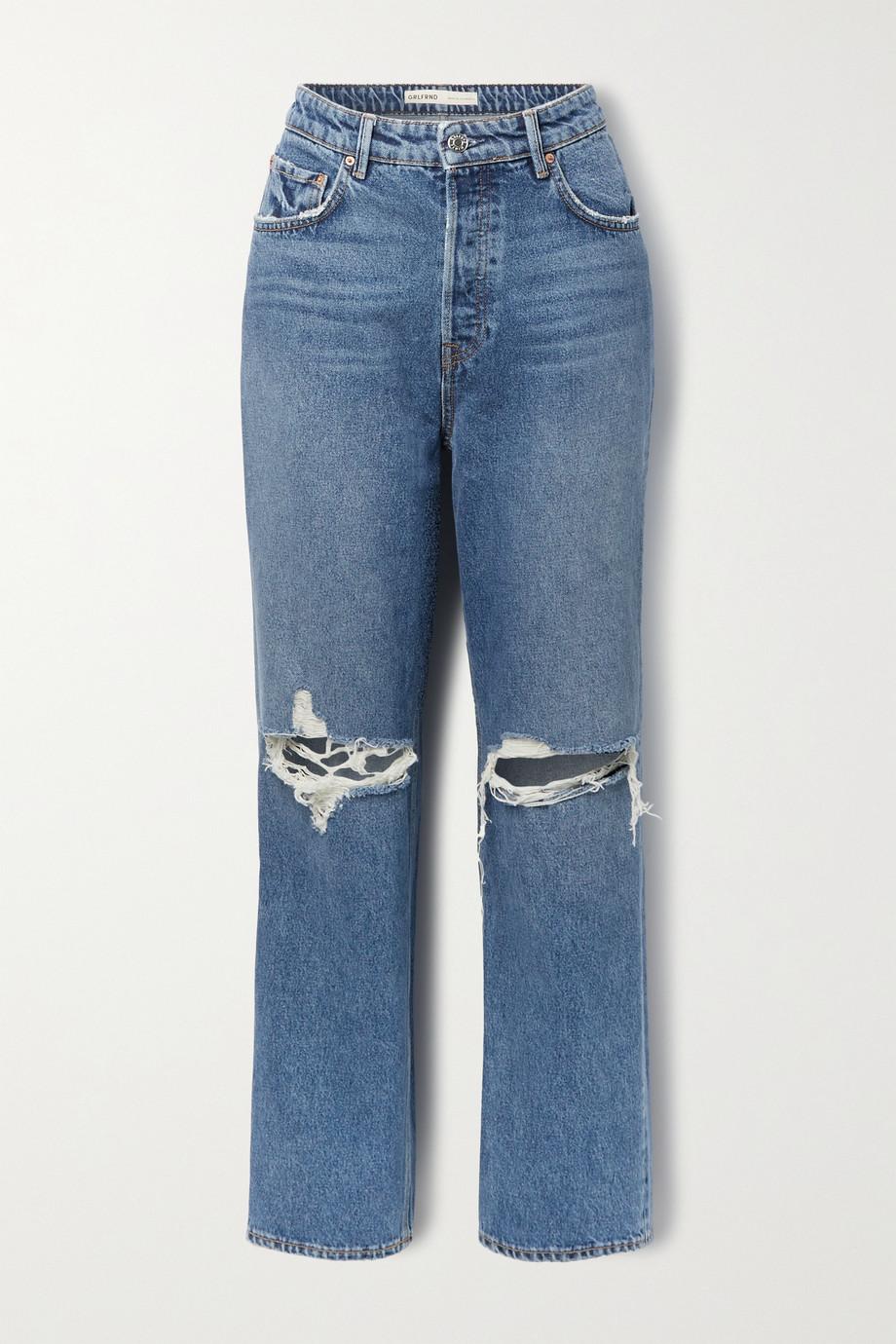 GRLFRND Amanda distressed mid-rise straight-leg jeans