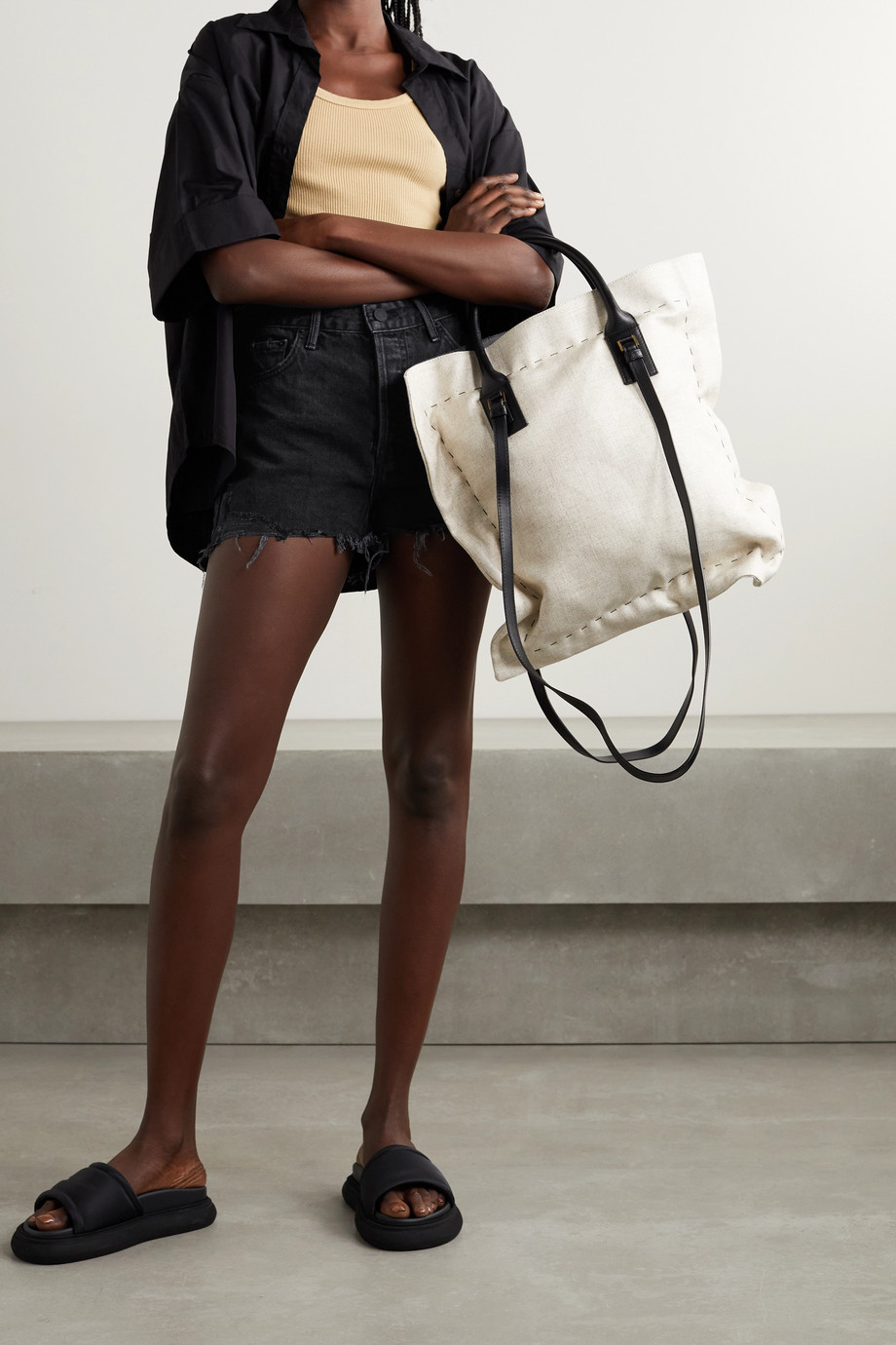 GRLFRND Helena distressed denim shorts
