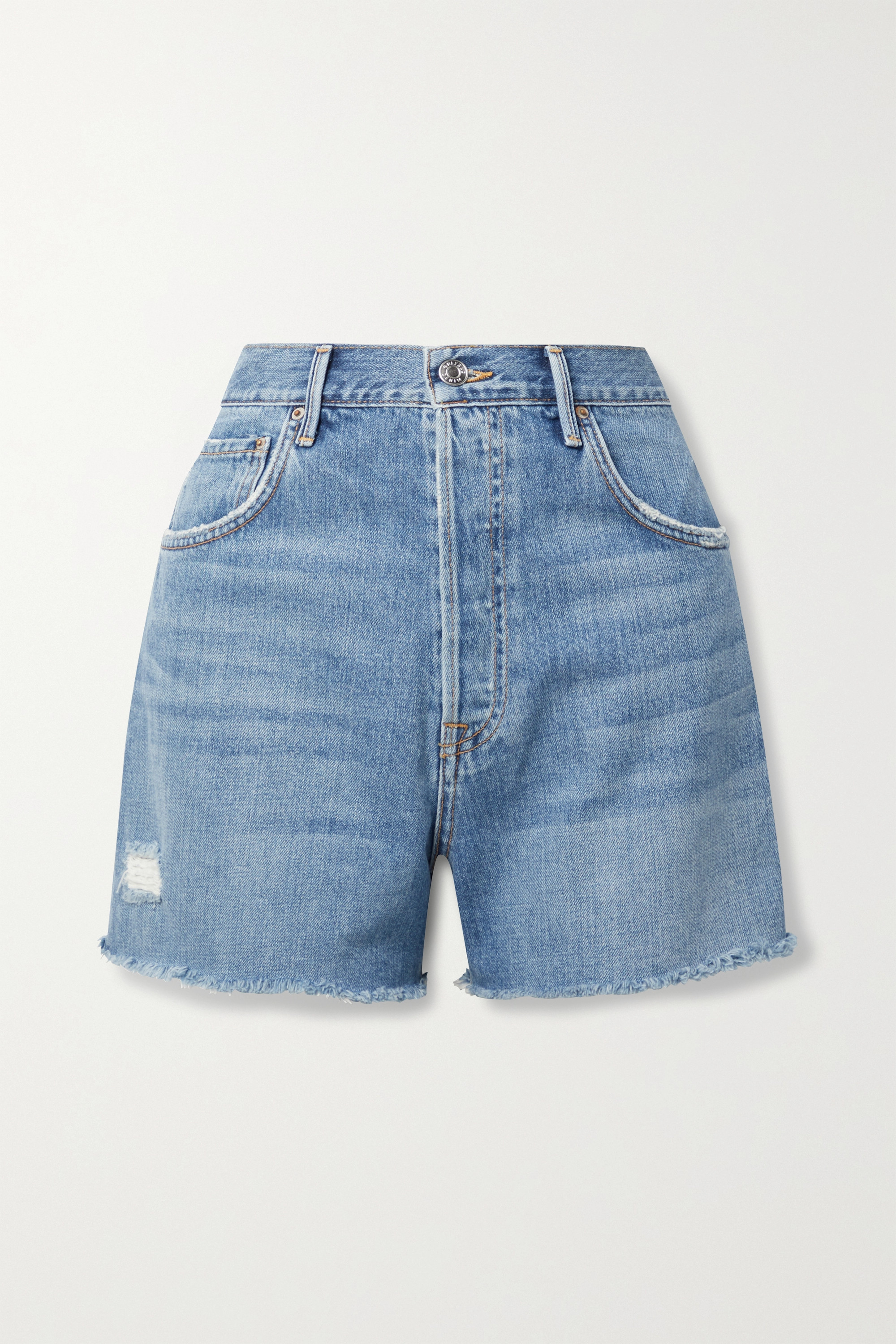 GRLFRND - Jules frayed denim shorts