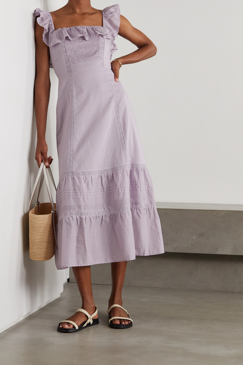 Reformation Tide lace-trimmed ruffled organic cotton-voile midi dress