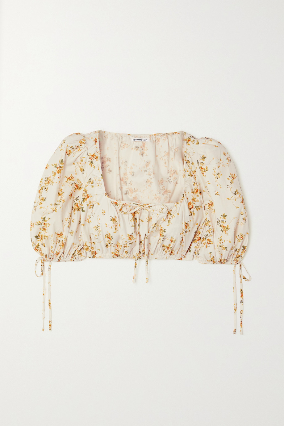 Reformation + NET SUSTAIN Marcella cropped floral-print organic cotton-blend top
