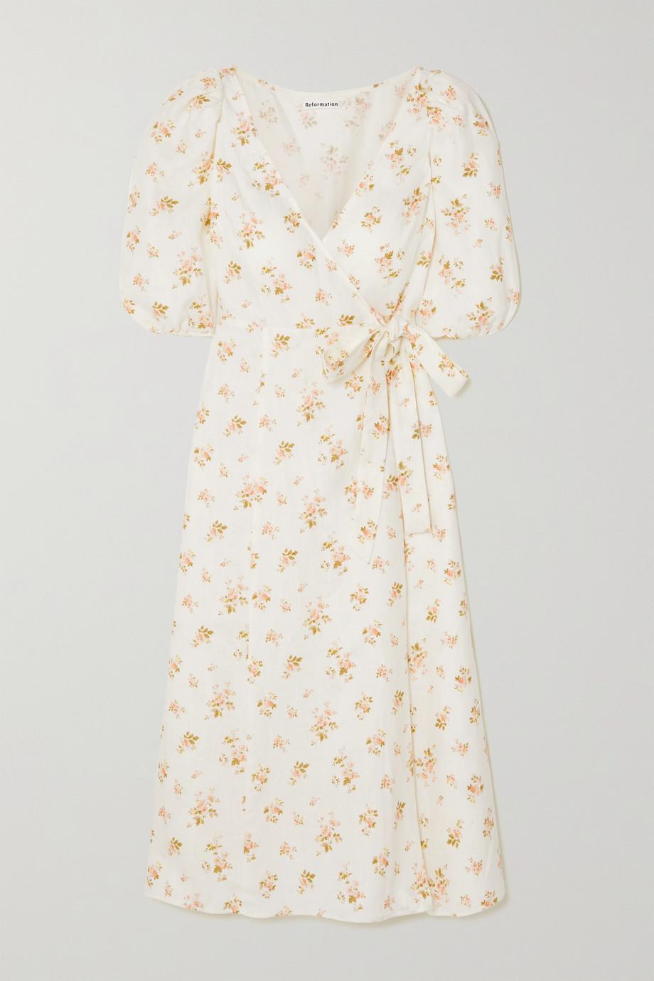 Reformation Mint Midi-Wickelkleid aus Leinen mit Blumenprint