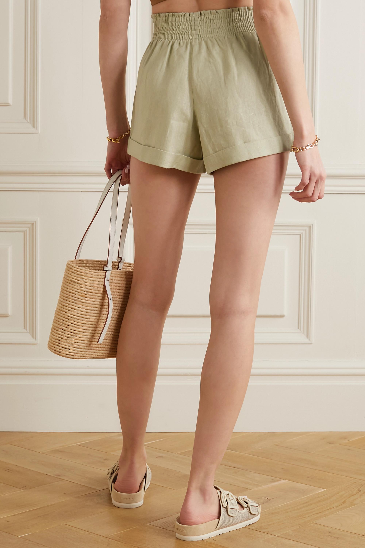 Reformation Nashville shirred linen shorts