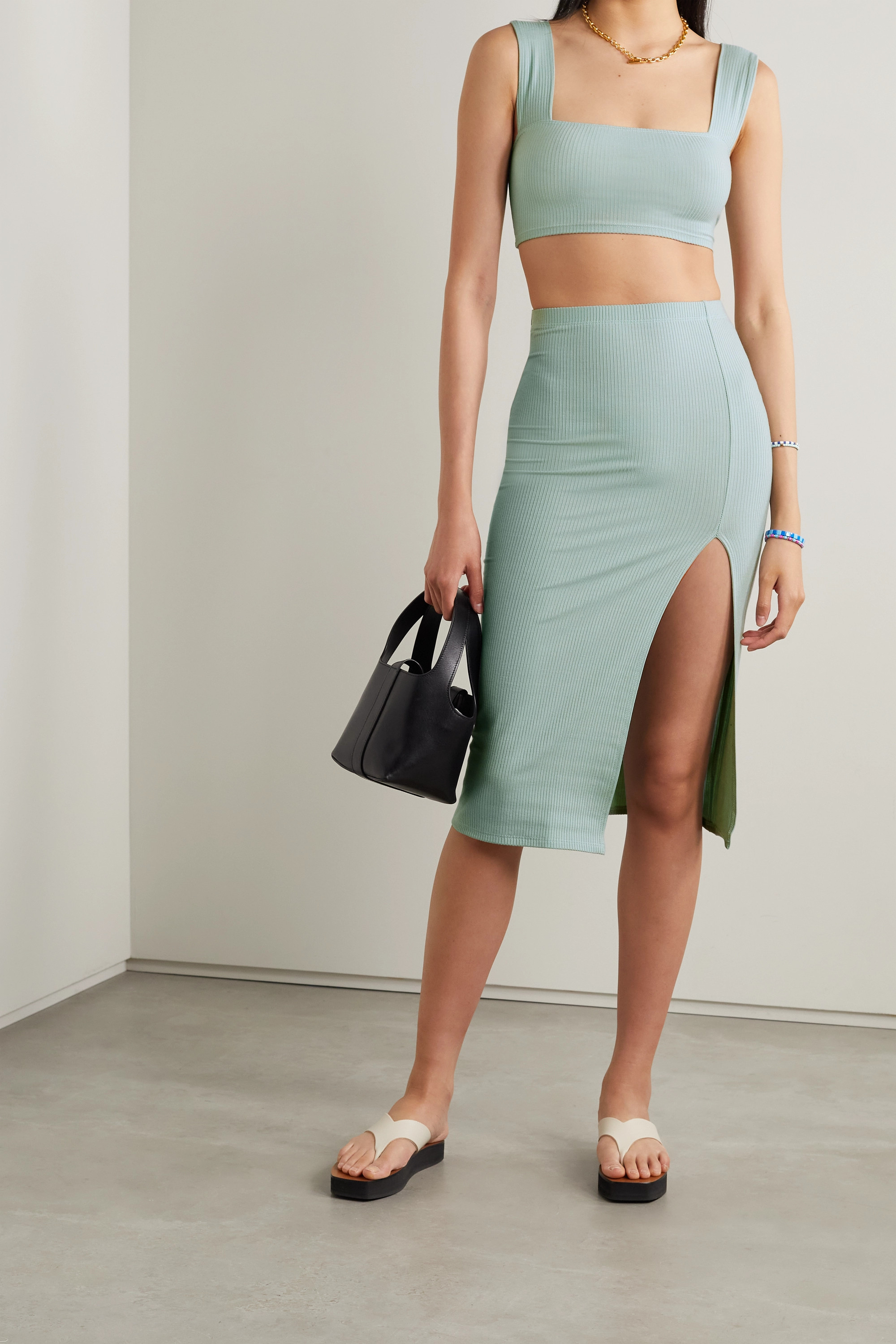 Reformation Ozzie ribbed stretch-TENCEL Lyocell top and skirt set