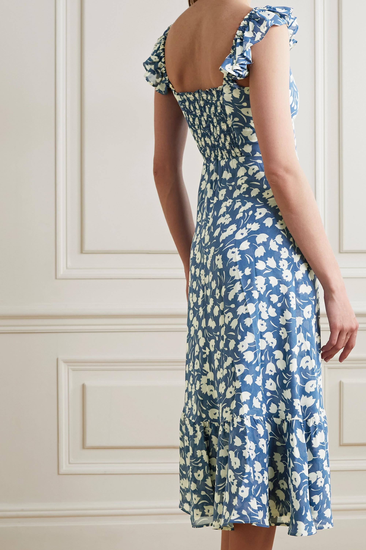 Reformation Bondi ruffled floral-print crepe de chine midi dress