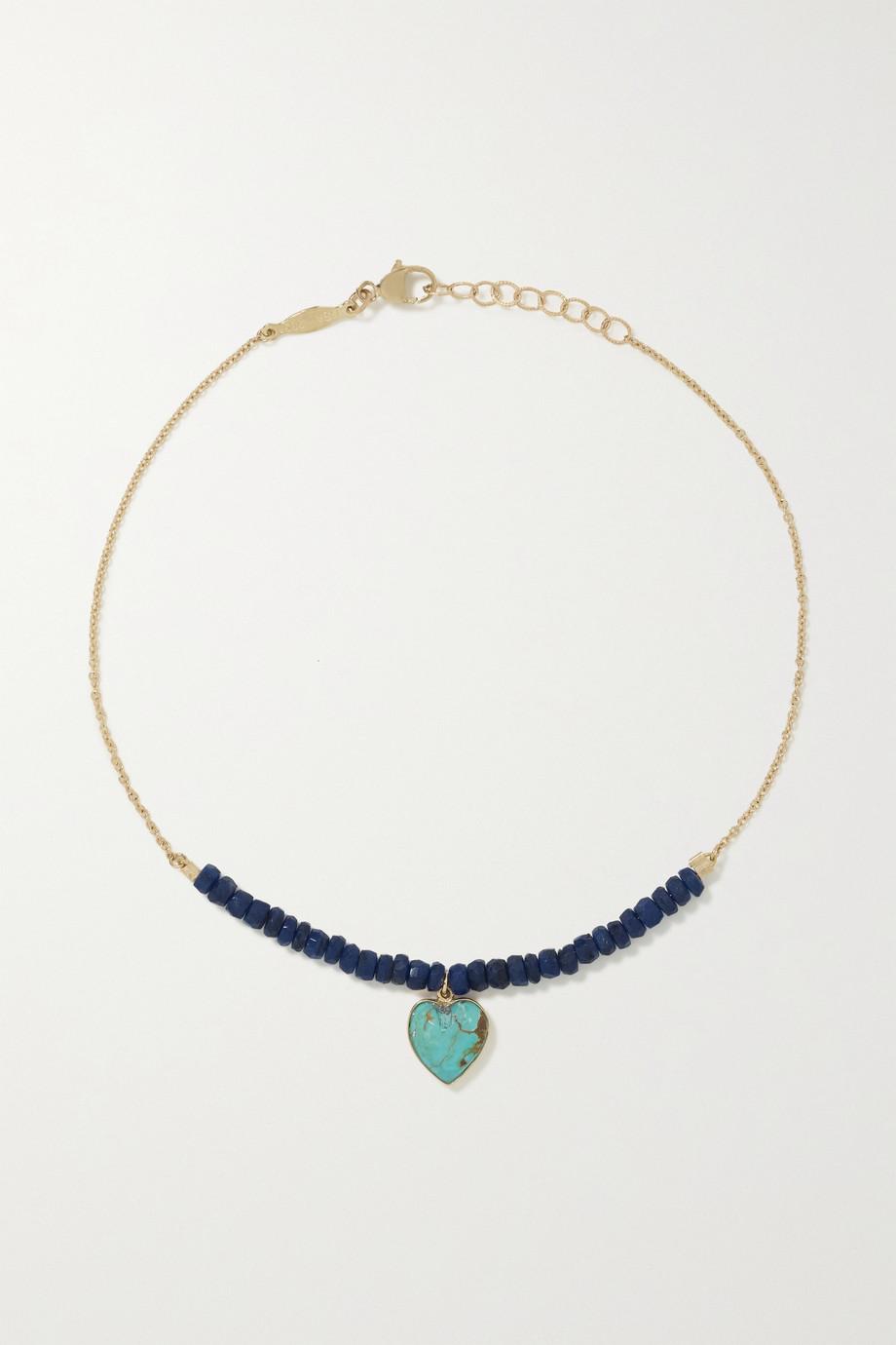 Jacquie Aiche 14-karat gold, lapis lazuli and turquoise anklet