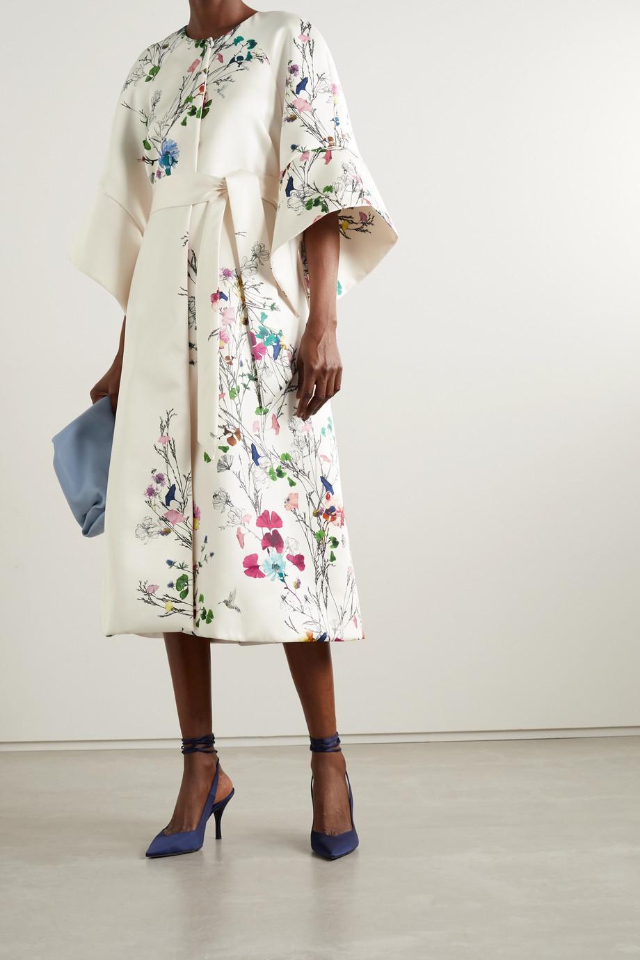 Monique Lhuillier Belted floral-print duchesse-satin coat