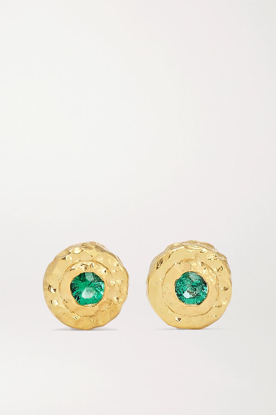 Octavia Elizabeth + NET SUSTAIN Nestling Gem Ohrringe aus recyceltem 18 Karat Gold mit Smaragden