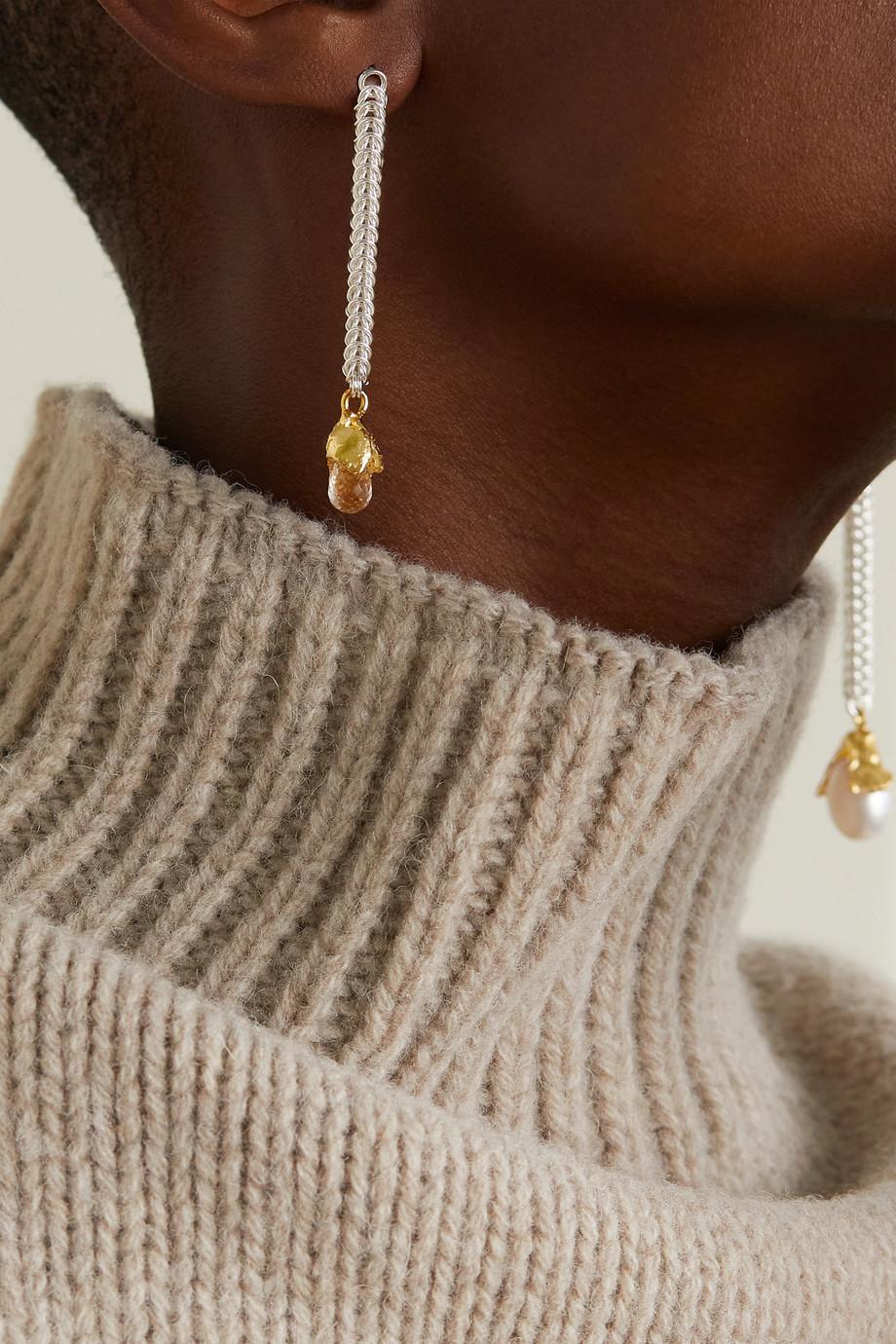 Alighieri Boucles d'oreilles en plaqué or, argent et perle The Greatest Flame from the Smallest Spark