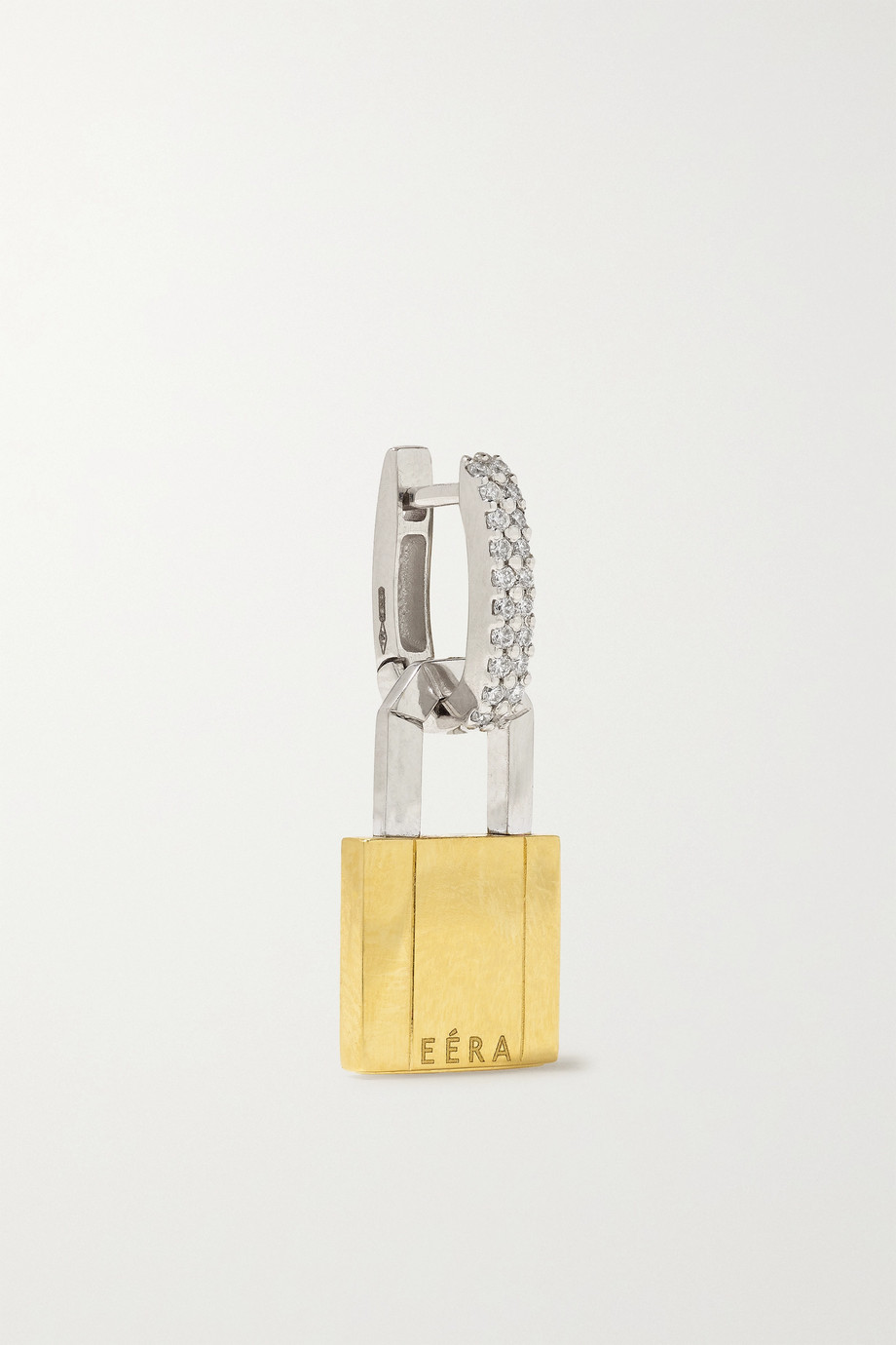 EÉRA Small Lock einzelner Ohrring aus Weiß- und Gelbgold mit Diamanten