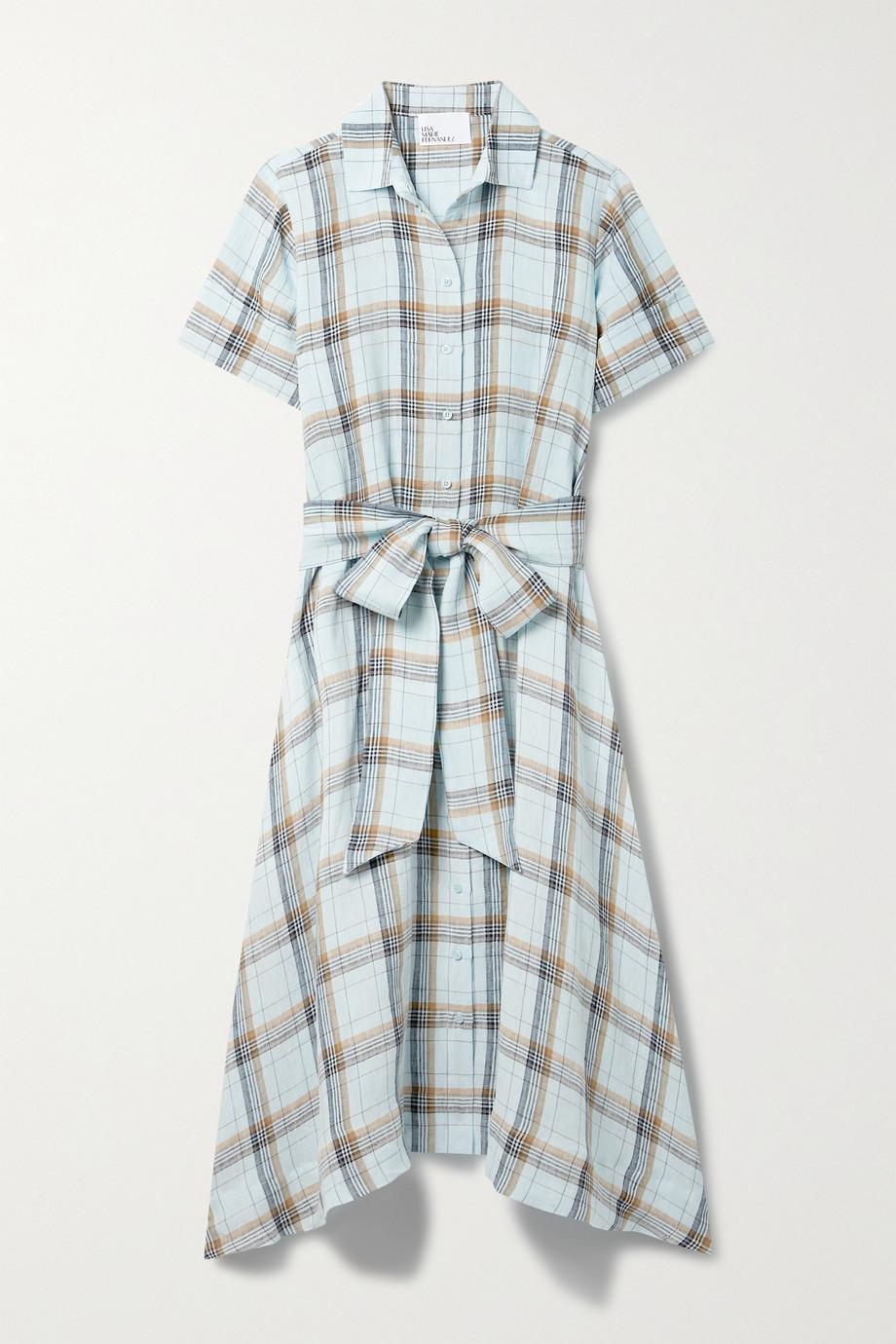 Lisa Marie Fernandez Robe-chemise midi en lin à carreaux - NET SUSTAIN