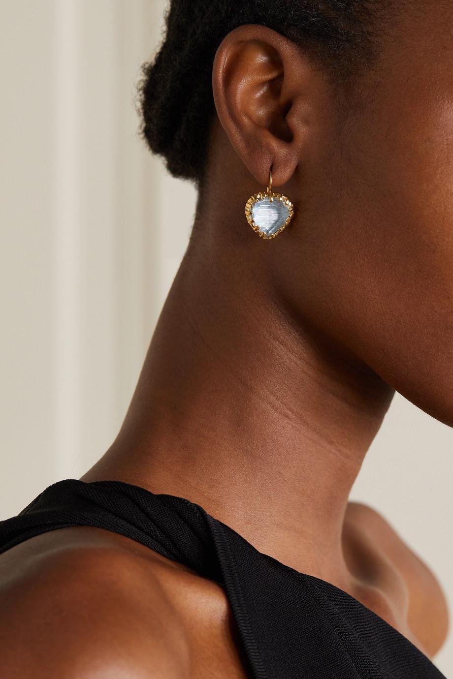 Larkspur & Hawk Valentina 18-karat gold-dipped quartz earrings