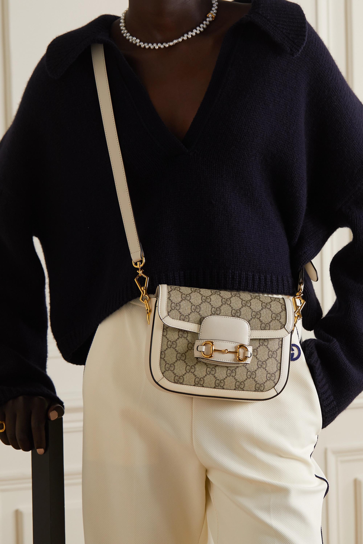 Gucci Sac porté épaule en toile enduite imprimée à finitions en cuir Horsebit 1955 Mini
