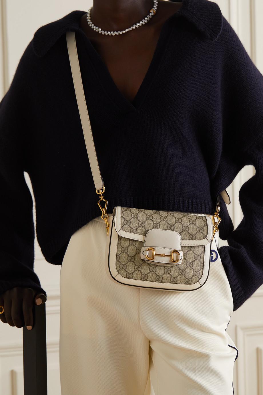 Gucci Sac porté épaule en toile enduite imprimée à finitions en cuir 1955 Horsebit Mini