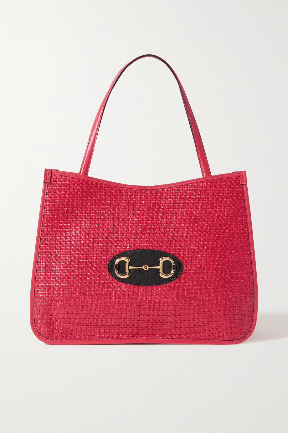 Gucci Horsebit 1955 leather-trimmed faux straw tote