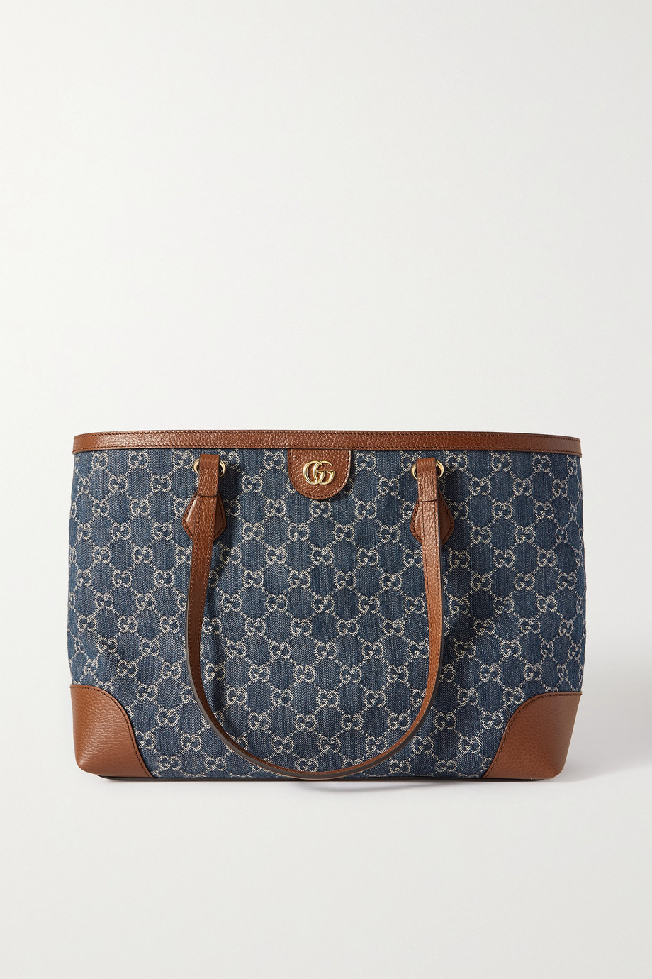 Gucci Ophidia medium textured leather-trimmed logo-jacquard denim tote