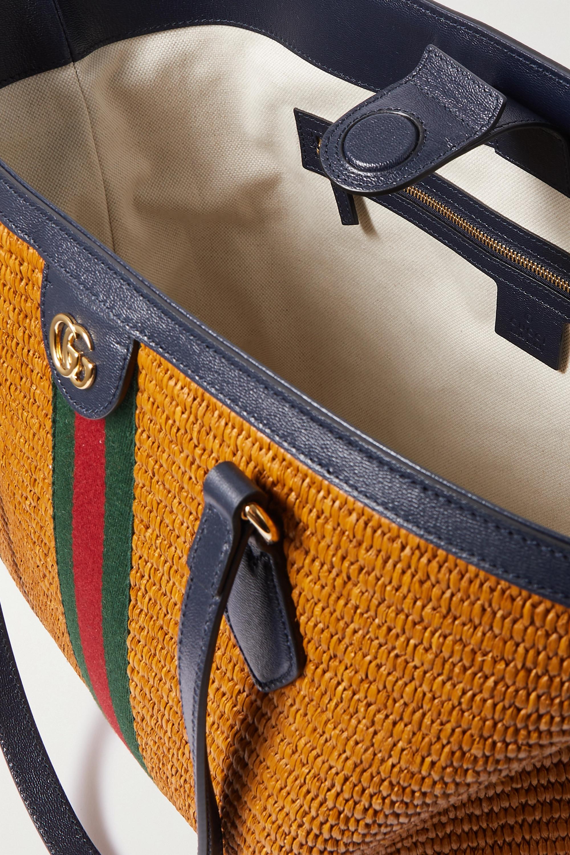 Gucci Sac à main en raphia à finitions en cuir et à ruban web Ophidia Medium