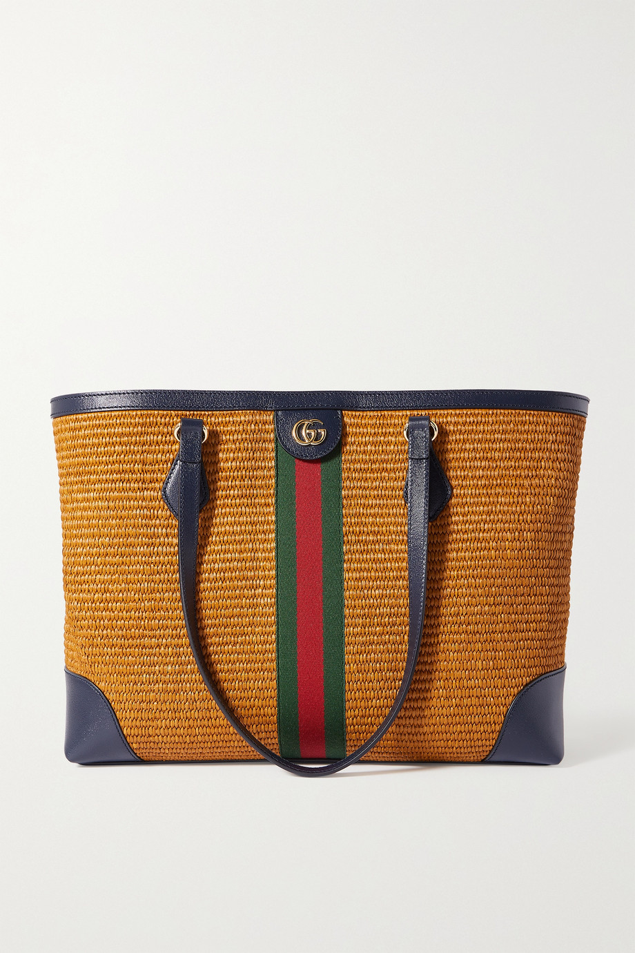 Gucci Sac à main en raphia à finitions en cuir et à ruban web Ophidia Medium