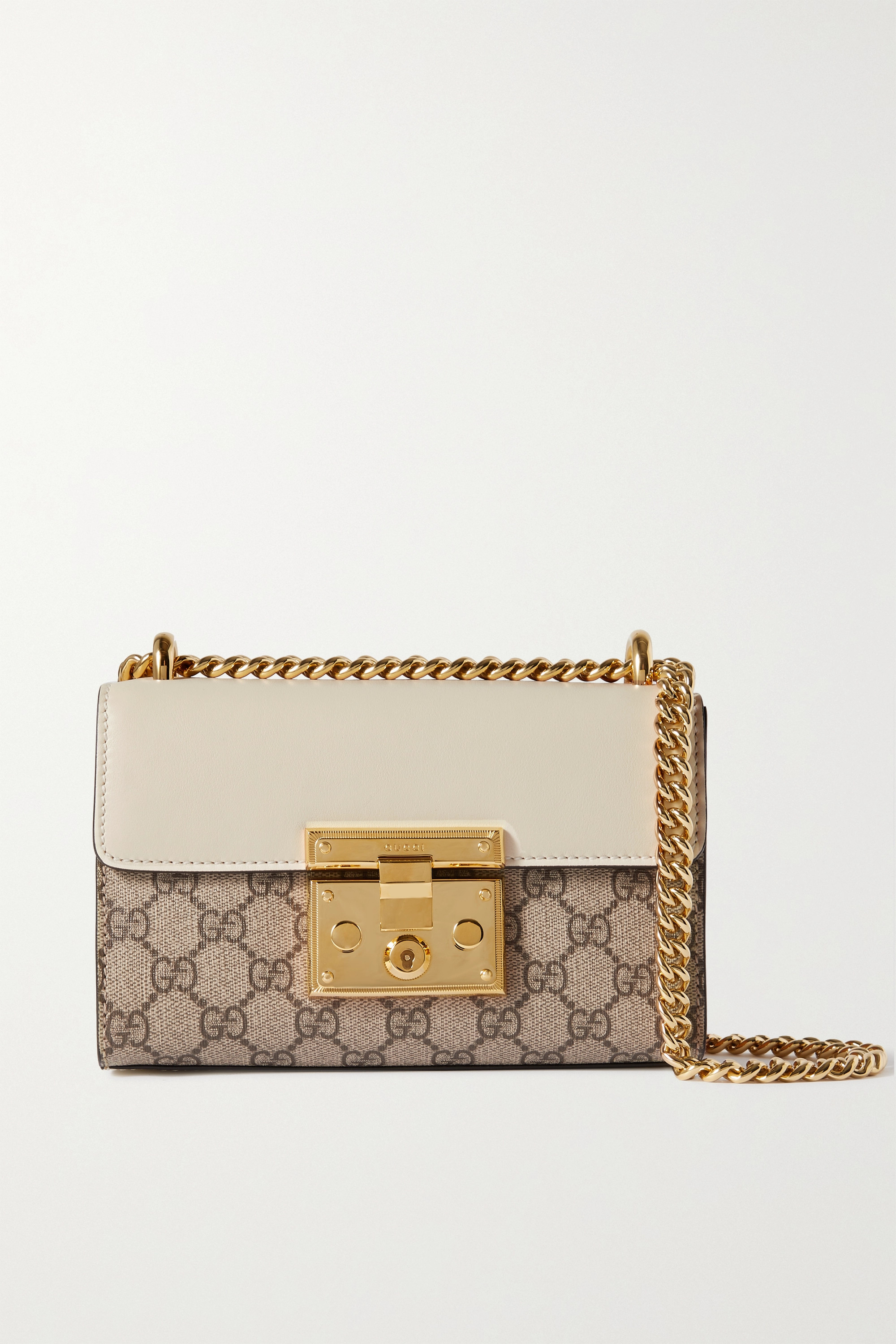 Gucci Padlock leather and printed coated-canvas shoulder bag