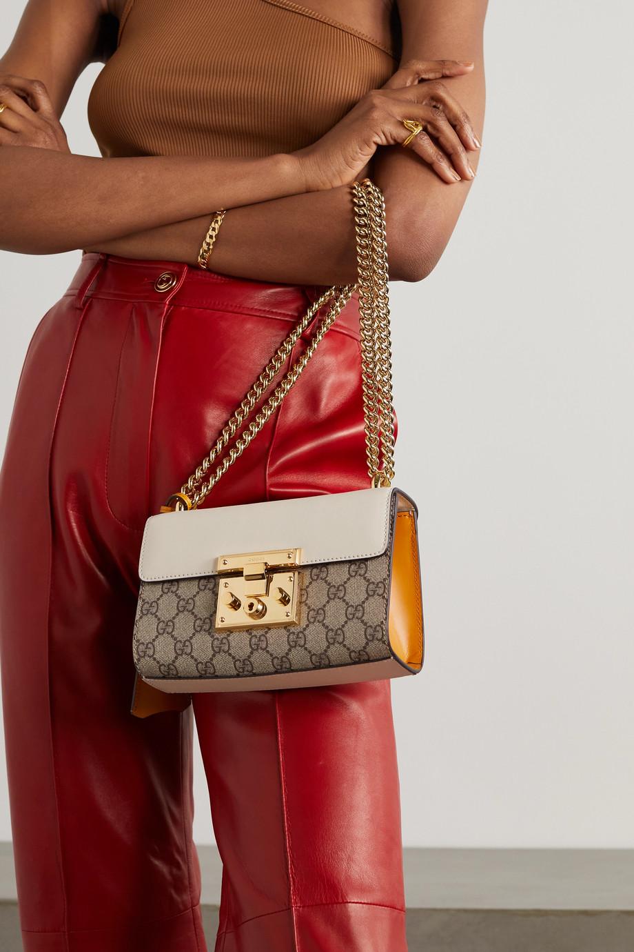 Gucci Sac porté épaule en cuir et en toile enduite imprimée Padlock