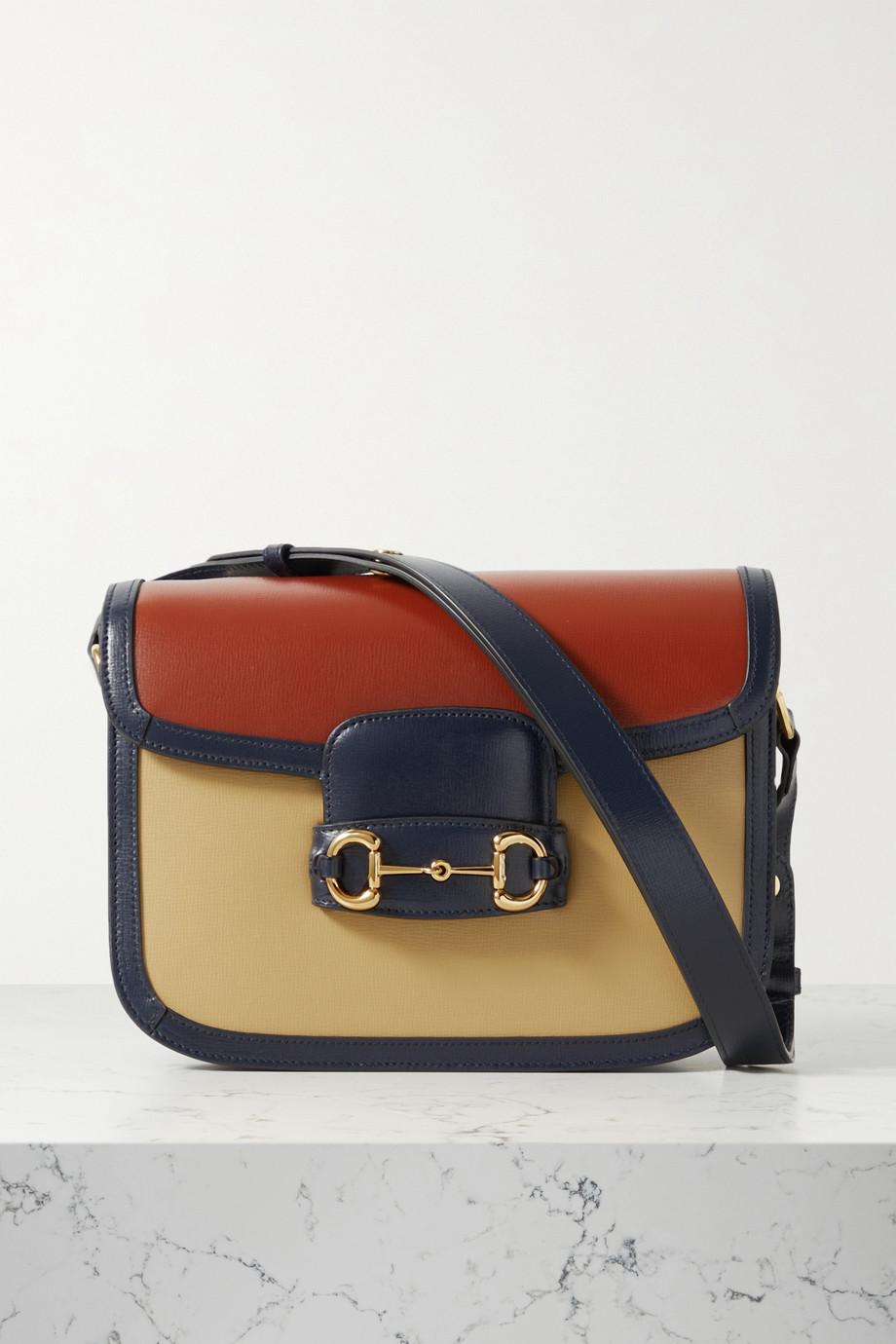 Gucci Sac porté épaule en cuir texturé color-block Horsebit 1955 Medium