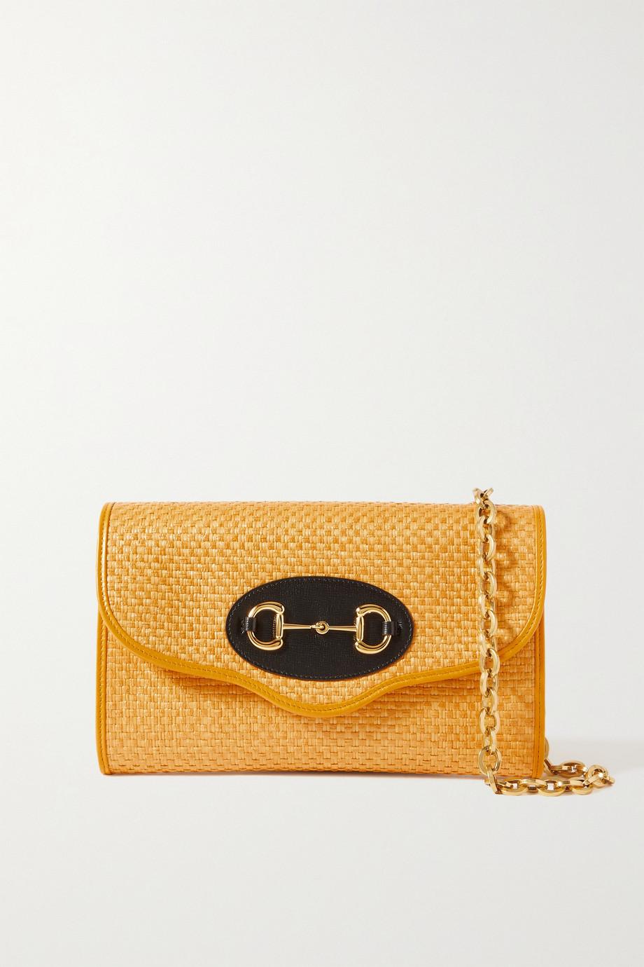 Gucci Horsebit 1955 leather-trimmed faux straw shoulder bag