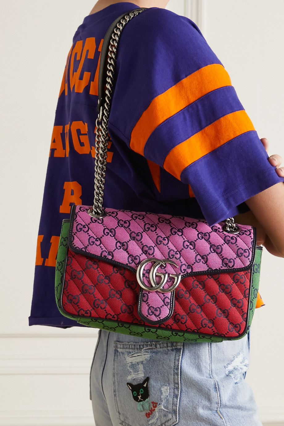 Gucci GG Marmont small quilted logo-jacquard shoulder bag