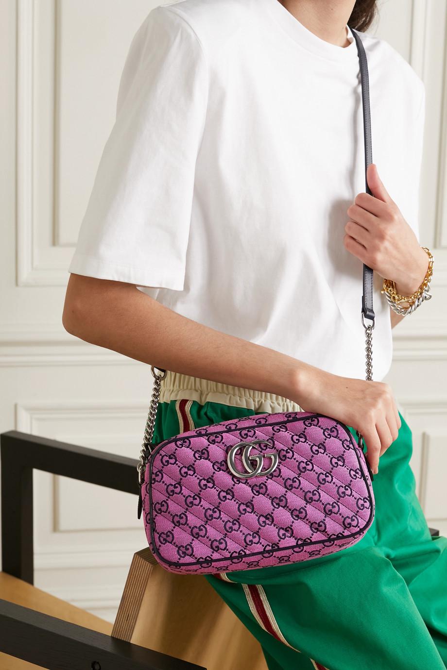 Gucci Sac porté épaule en jacquard matelassé à logo GG Marmont Small