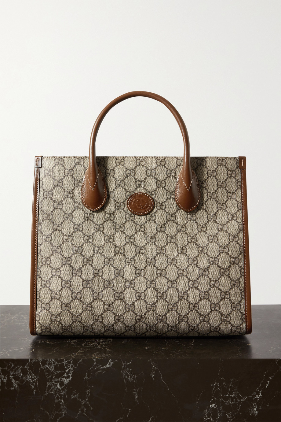 Gucci Ophidia Luggage leather-trimmed printed coated-canvas tote