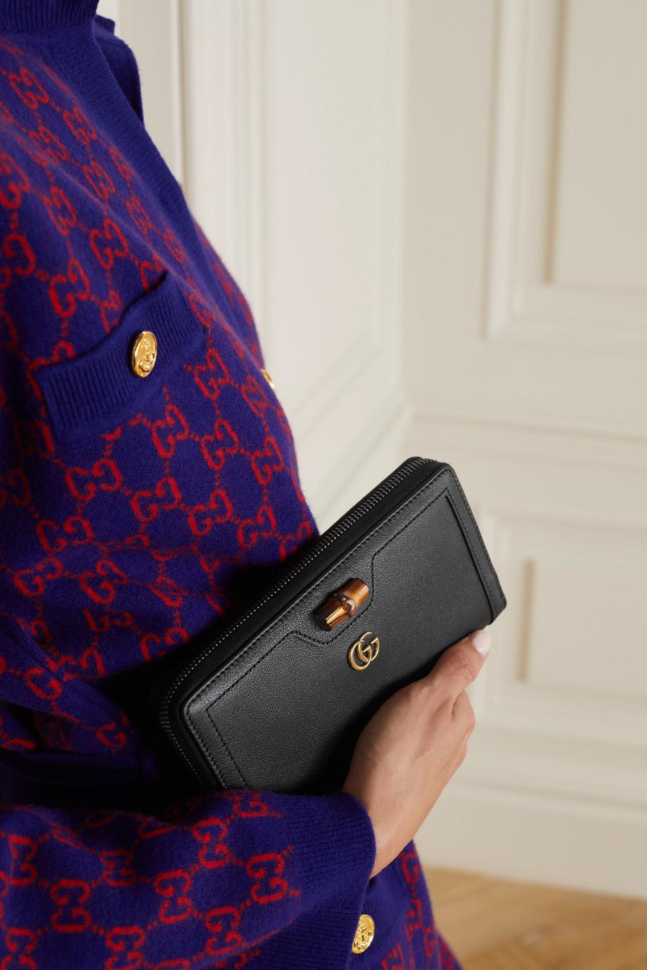 Gucci Portefeuille long en cuir texturé Diana