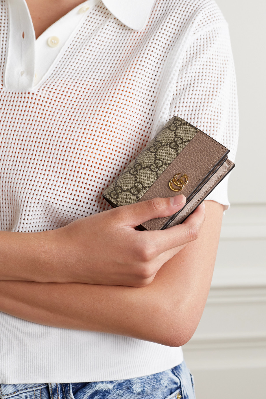 Gucci GG Marmont Petite textured-leather and printed coated-canvas wallet