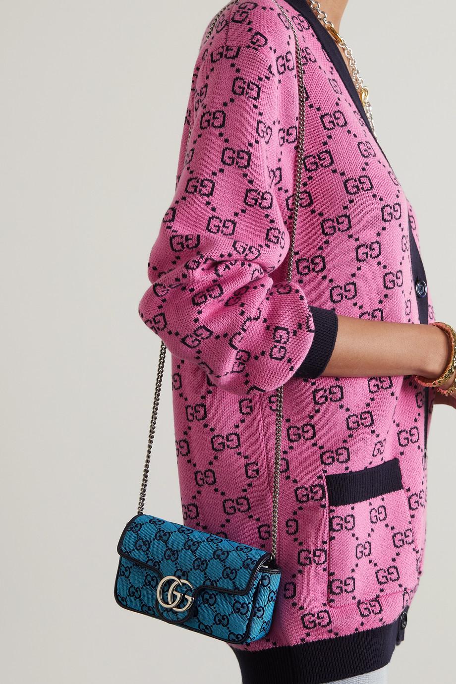 Gucci Sac porté épaule en jacquard matelassé à logo GG Marmont Super Mini