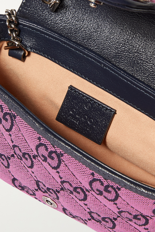 Gucci GG Marmont Multicolour super mini Schultertasche aus gestepptem Jacquard mit Logomuster