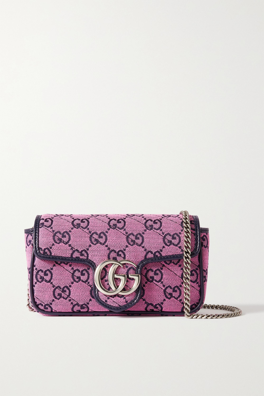 Gucci - GG Marmont Multicolour super mini quilted logo-jacquard shoulder bag