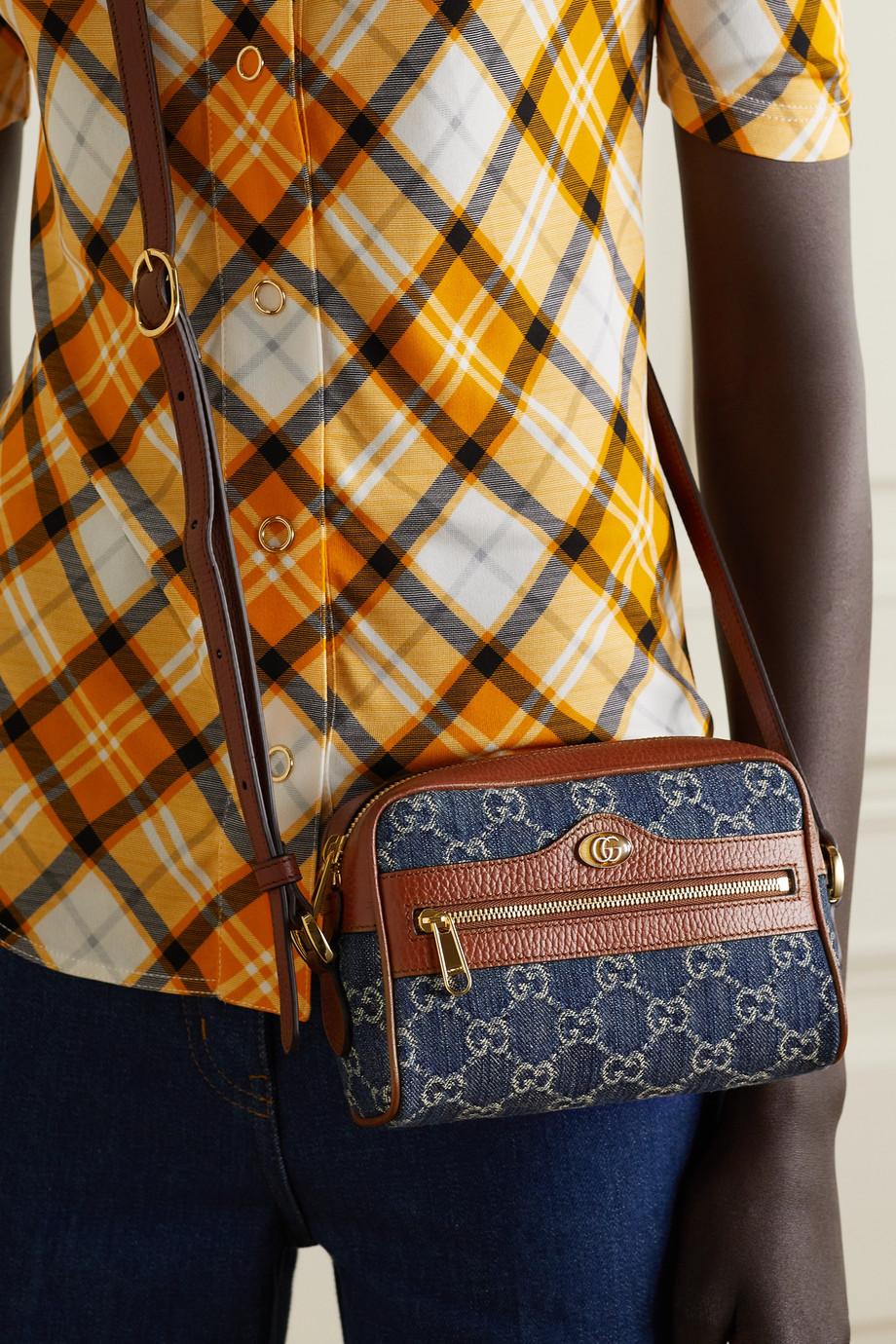 Gucci Sac porté épaule en jean à logo à finitions en cuir texturé Ophidia Small