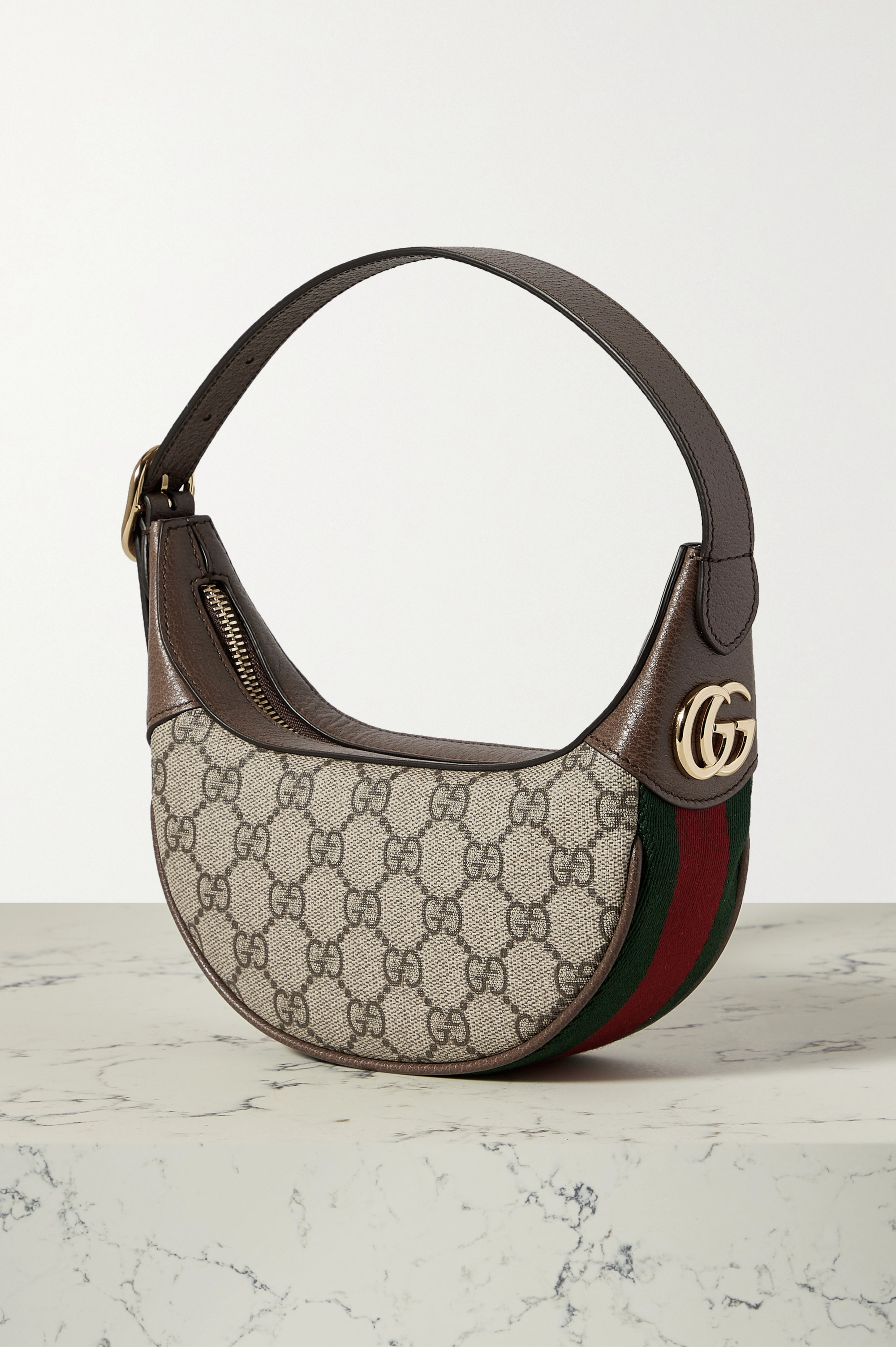Gucci Ophidia webbing-trimmed textured-leather and printed coated-canvas shoulder bag