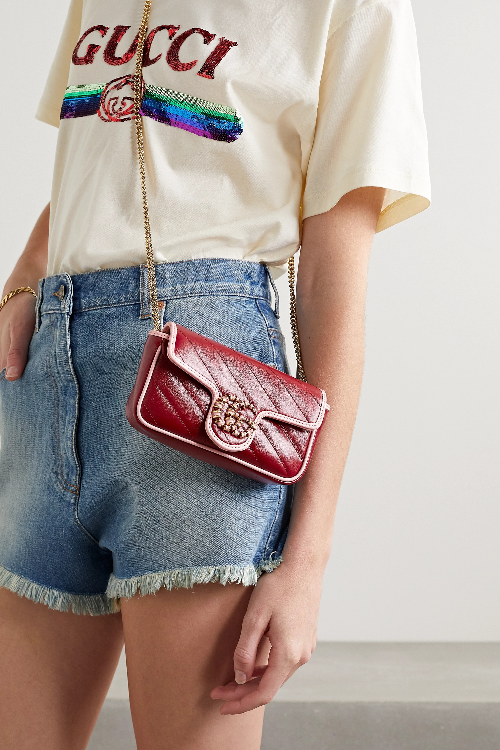 Gucci GG Marmont quilted two-tone leather shoulder bag